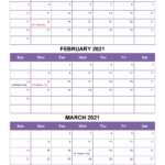 Free January February March 2021 Printable Calendar Template