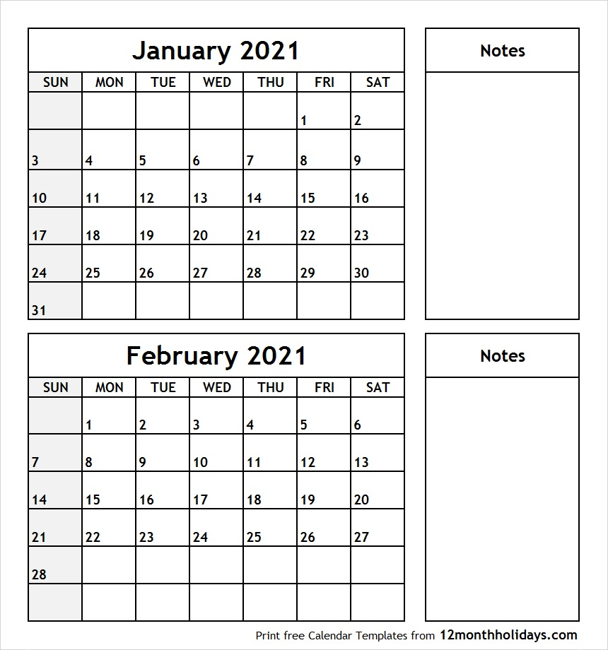January-February-2021-Printable-Calendar - All 12 Month