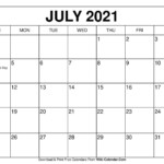 July 2021 Calendar In 2020 | Free Calendars To Print, Blank