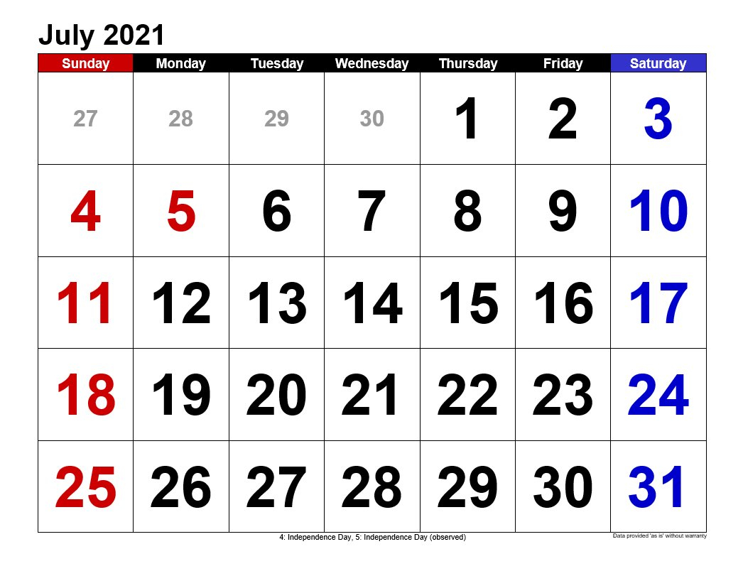 12 Month Calendar July 2021 To July 2021 Printable | Free ...