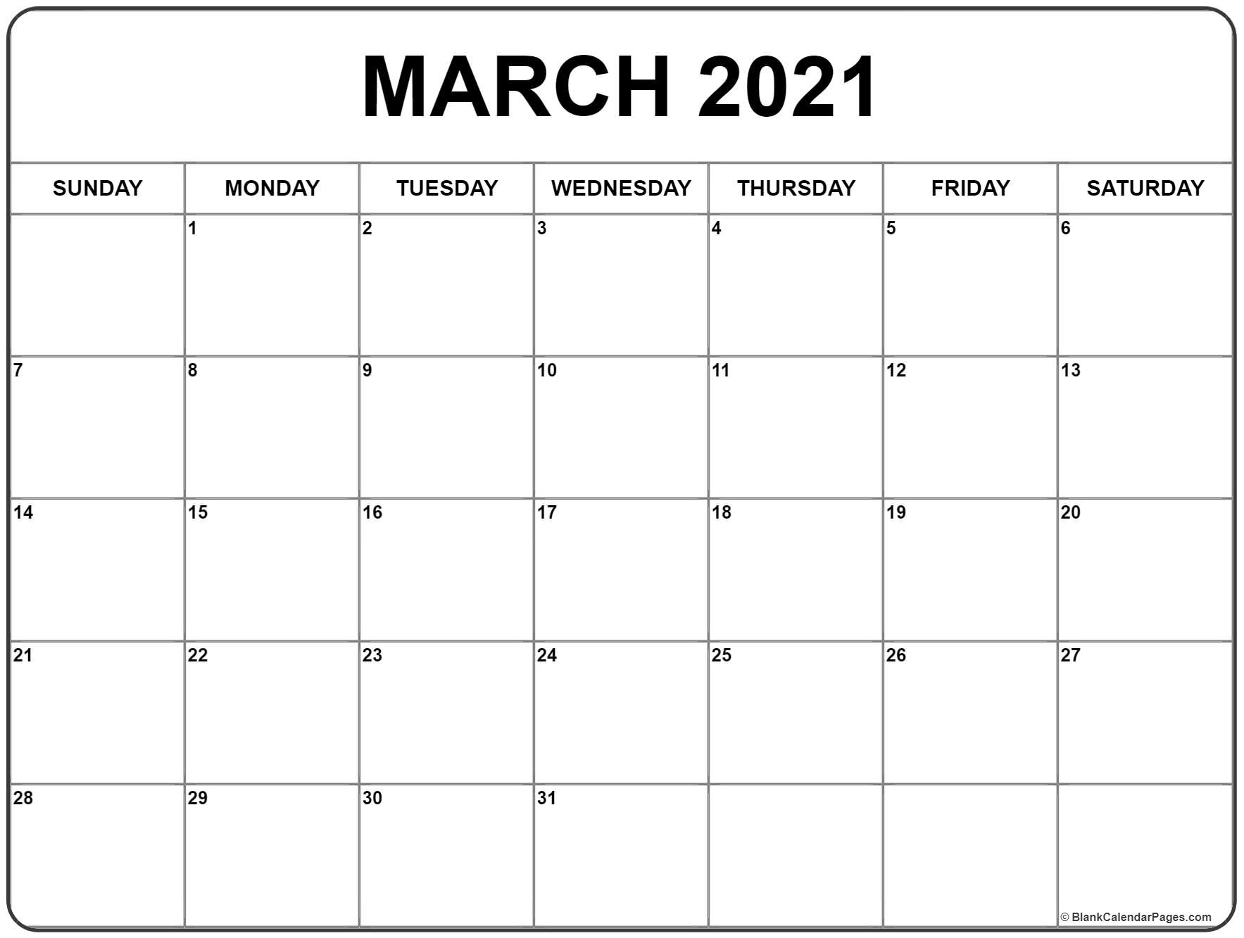 March 2021 Calendar | Free Printable Monthly Calendars
