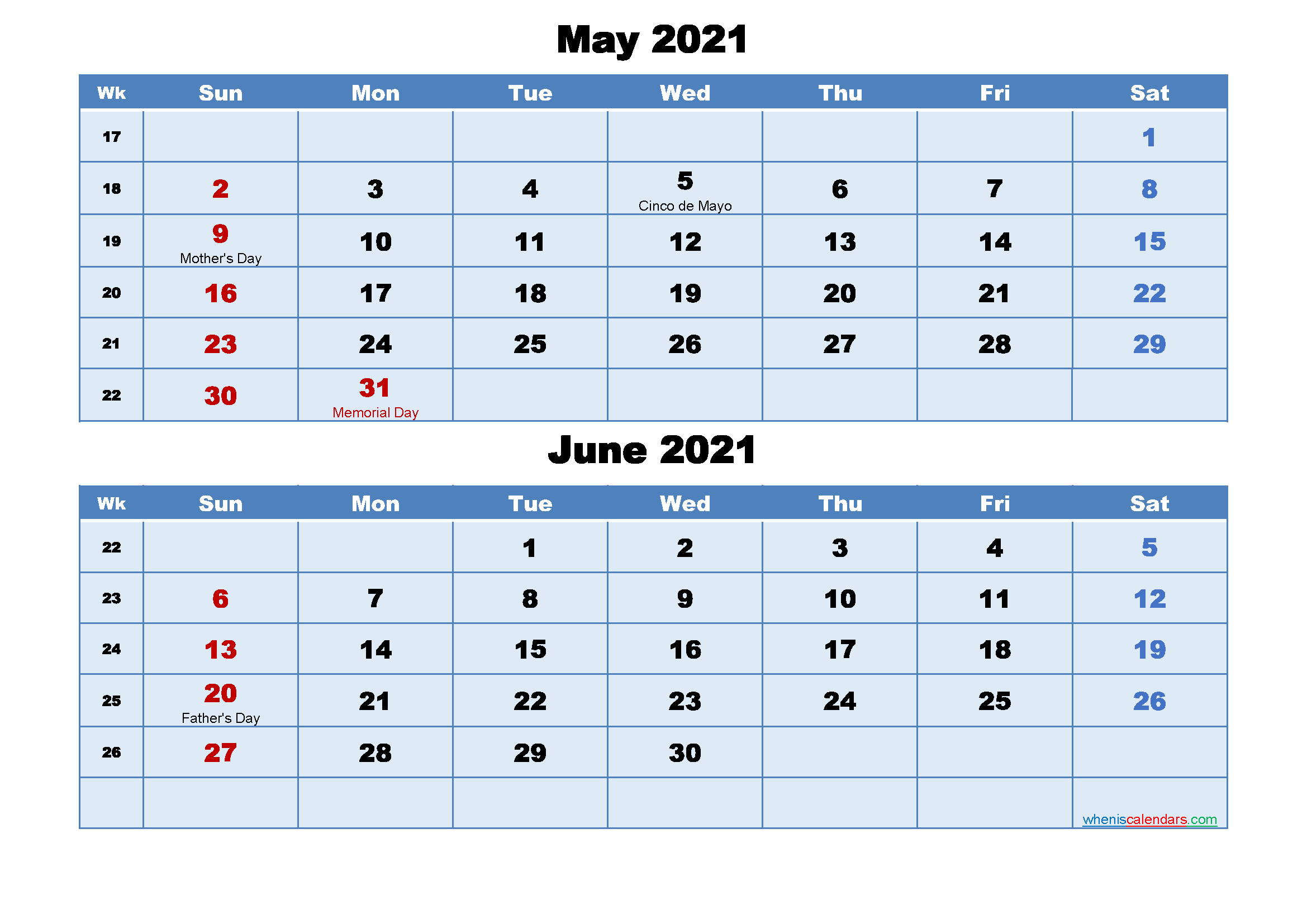 May And June 2021 Calendar With Holidays – Free 2020 And