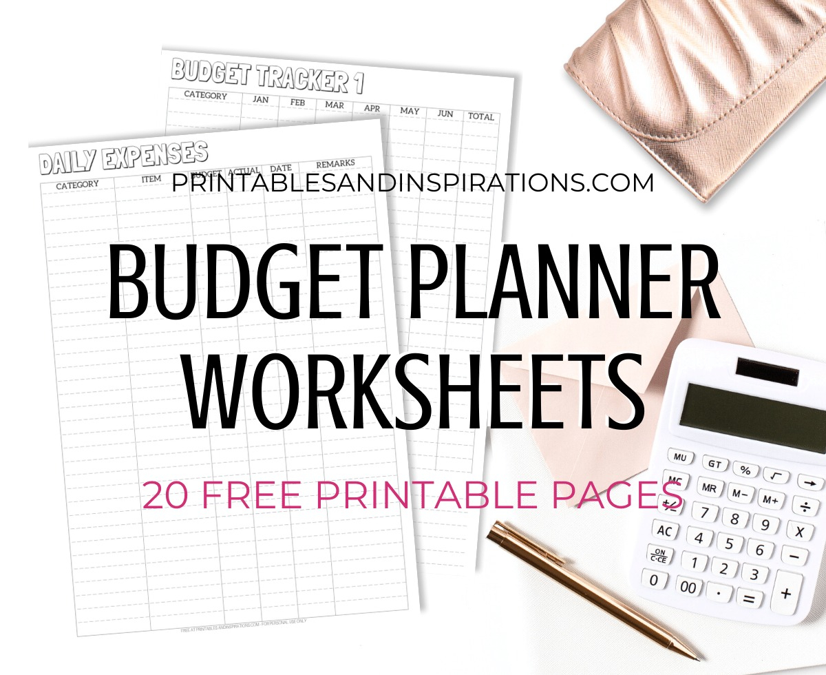 Monthly Budget Planner Worksheets - 20 Free Printables