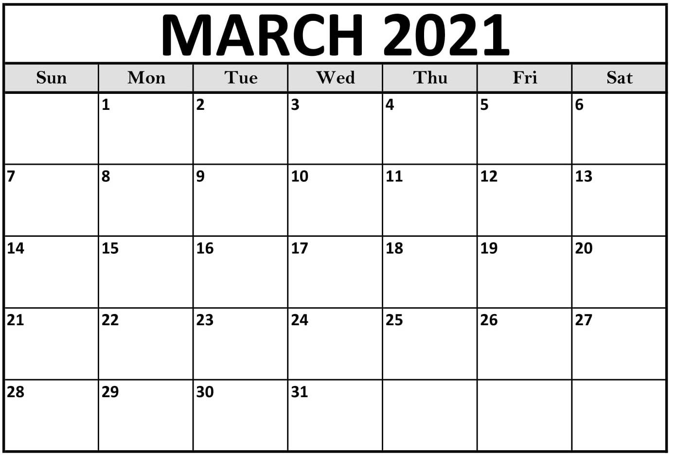 Print March 2021 Calendar Template Word Excel - Set Your