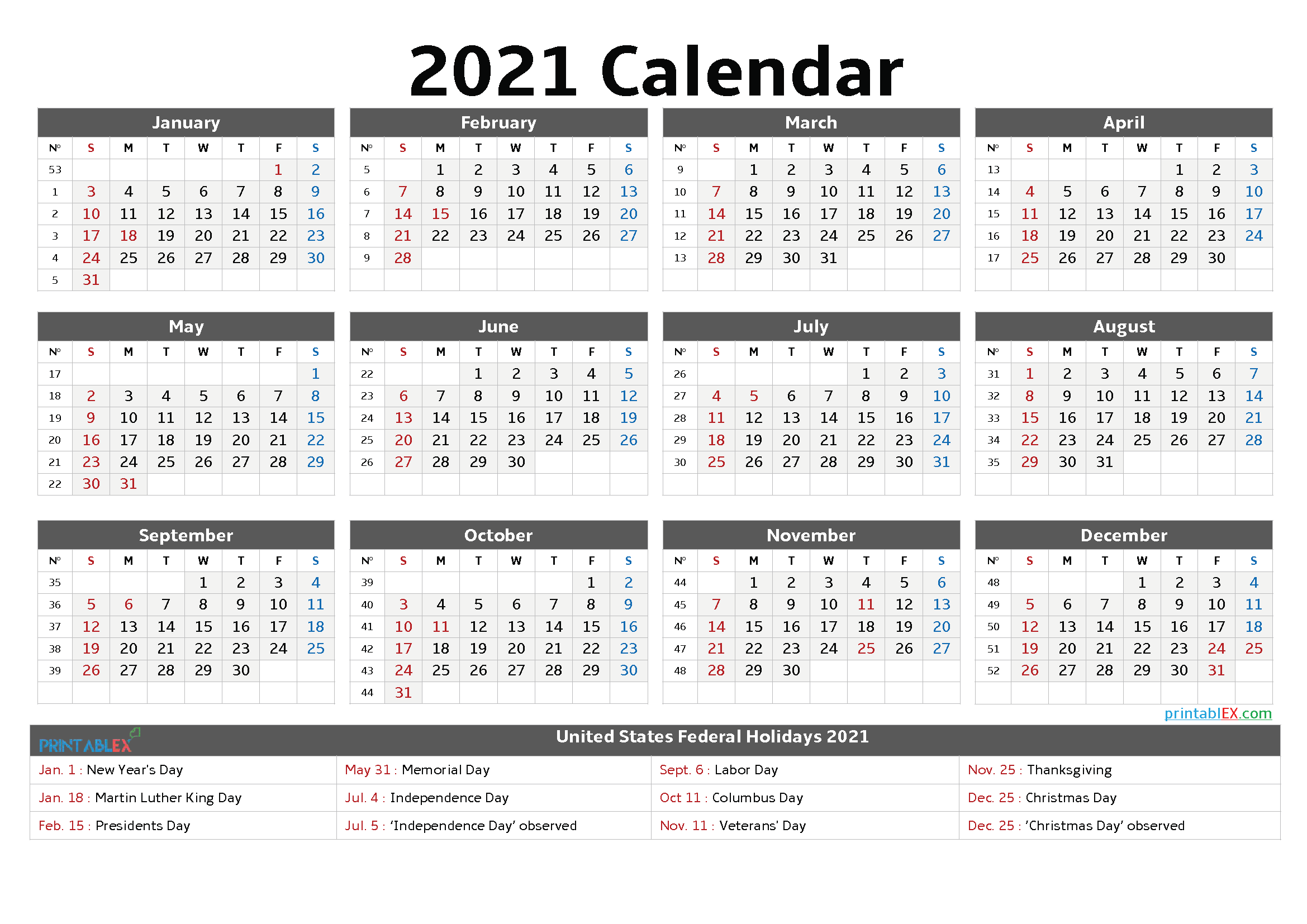 Printable 2021 Calendar With Holidays Trinidad | Free 2021 ...
