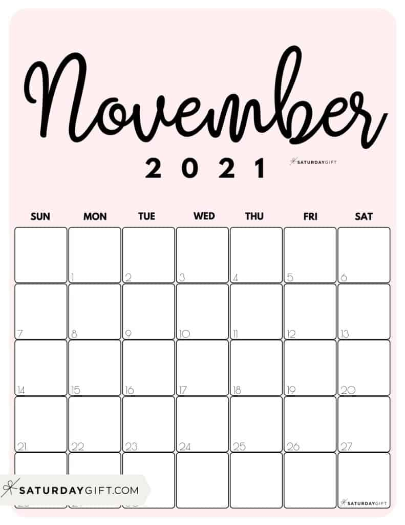 Printable 2021 Calendarmonth In 3 Cute Colors   Saturdaygift