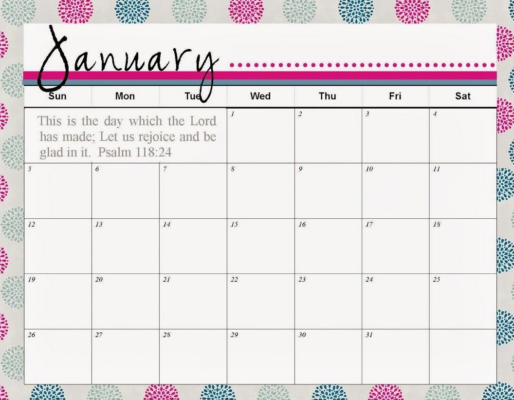 Unique Cute Printable Monthly Calendar | Free Printable