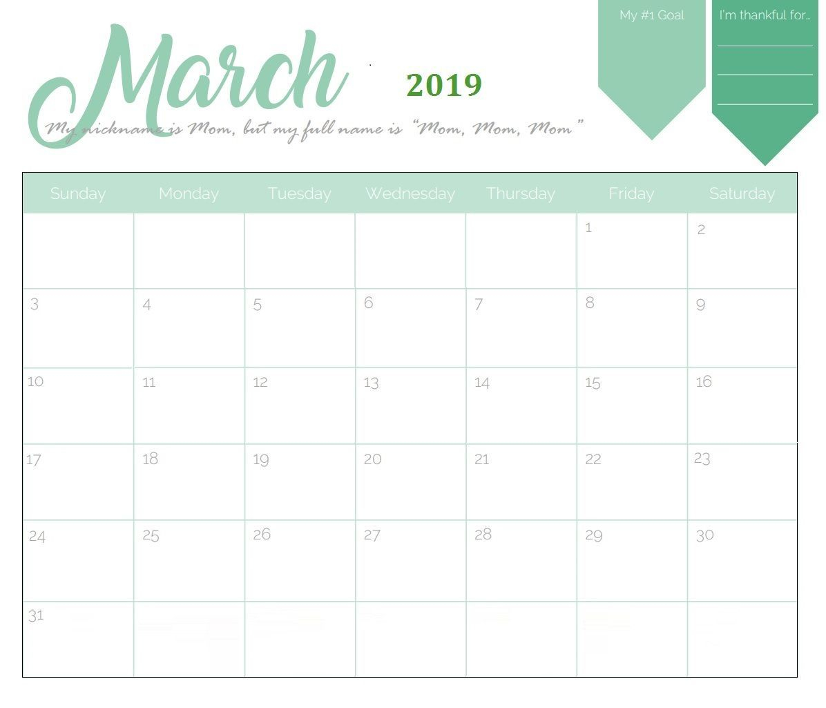 Unique March 2019 Calendar Template #march #marchcalendar