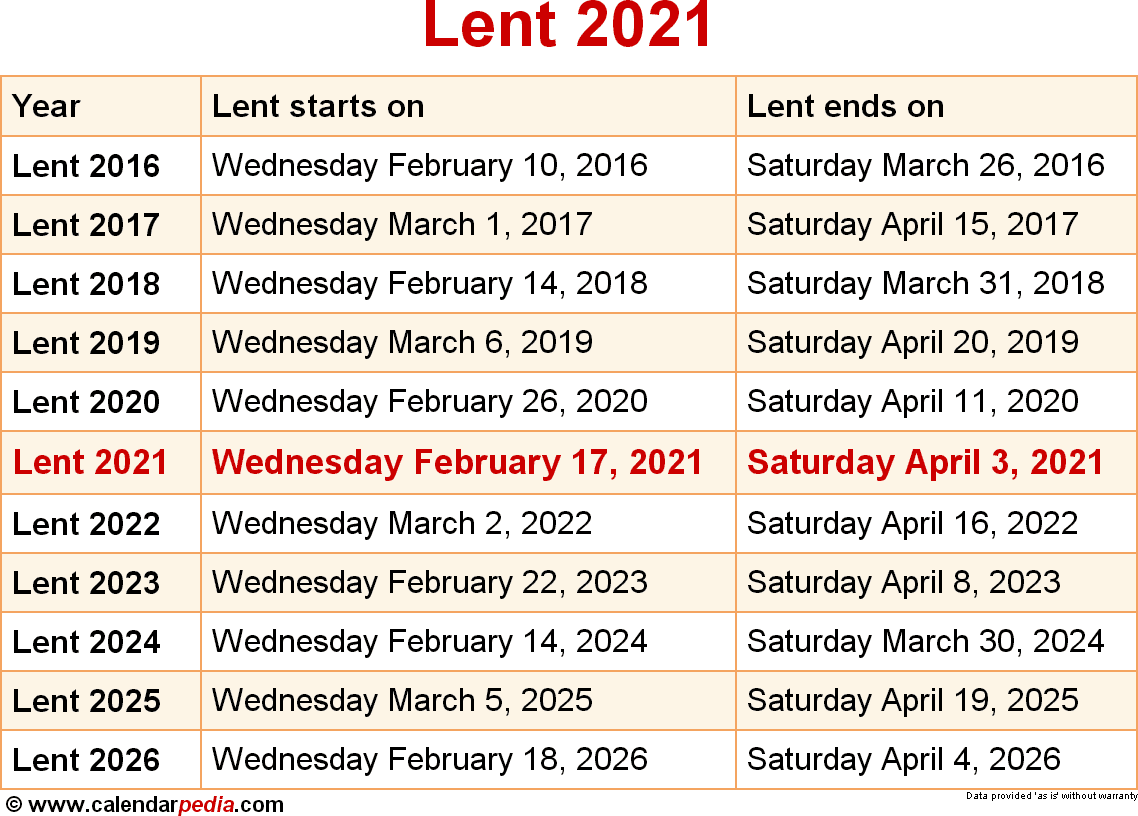 When Is Lent 2021?