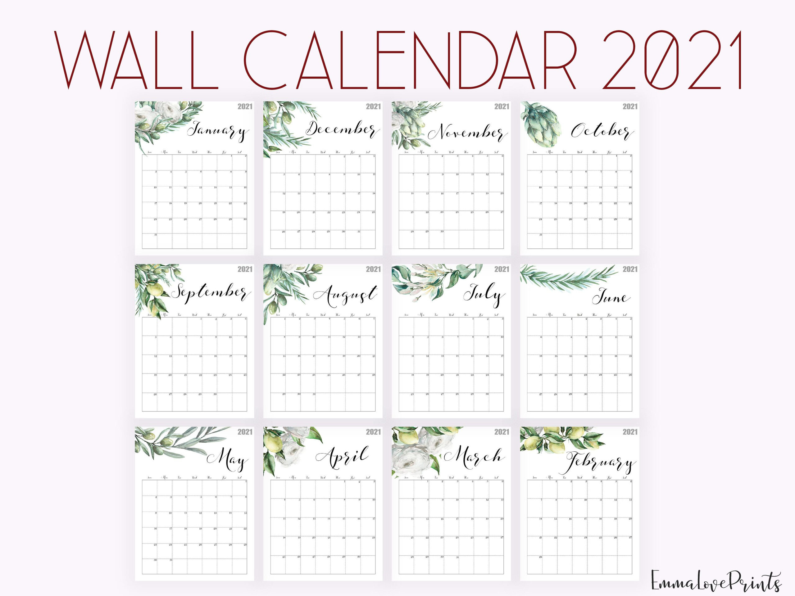 2021 Calendar Watercolour Calendar 2021 Botanical Wall