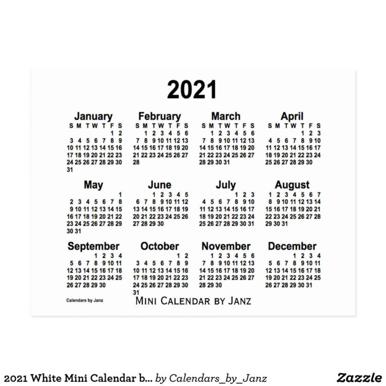 2021 White Mini Calendarjanz Postcard | Mini Calendars