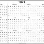 2021 Year Calendar | Yearly Printable