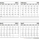 4-Month-January-February-March-April-2021-Calendar - All 12