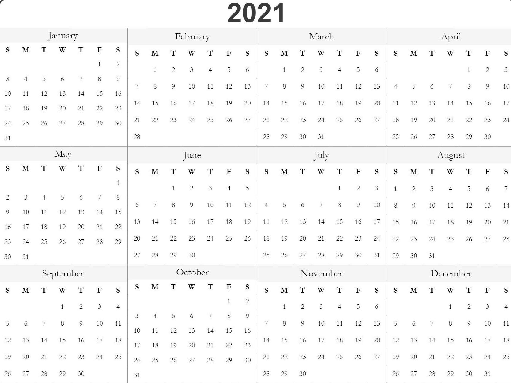 Blank Printable 2021 Calendar Template In 2020 | Calendar
