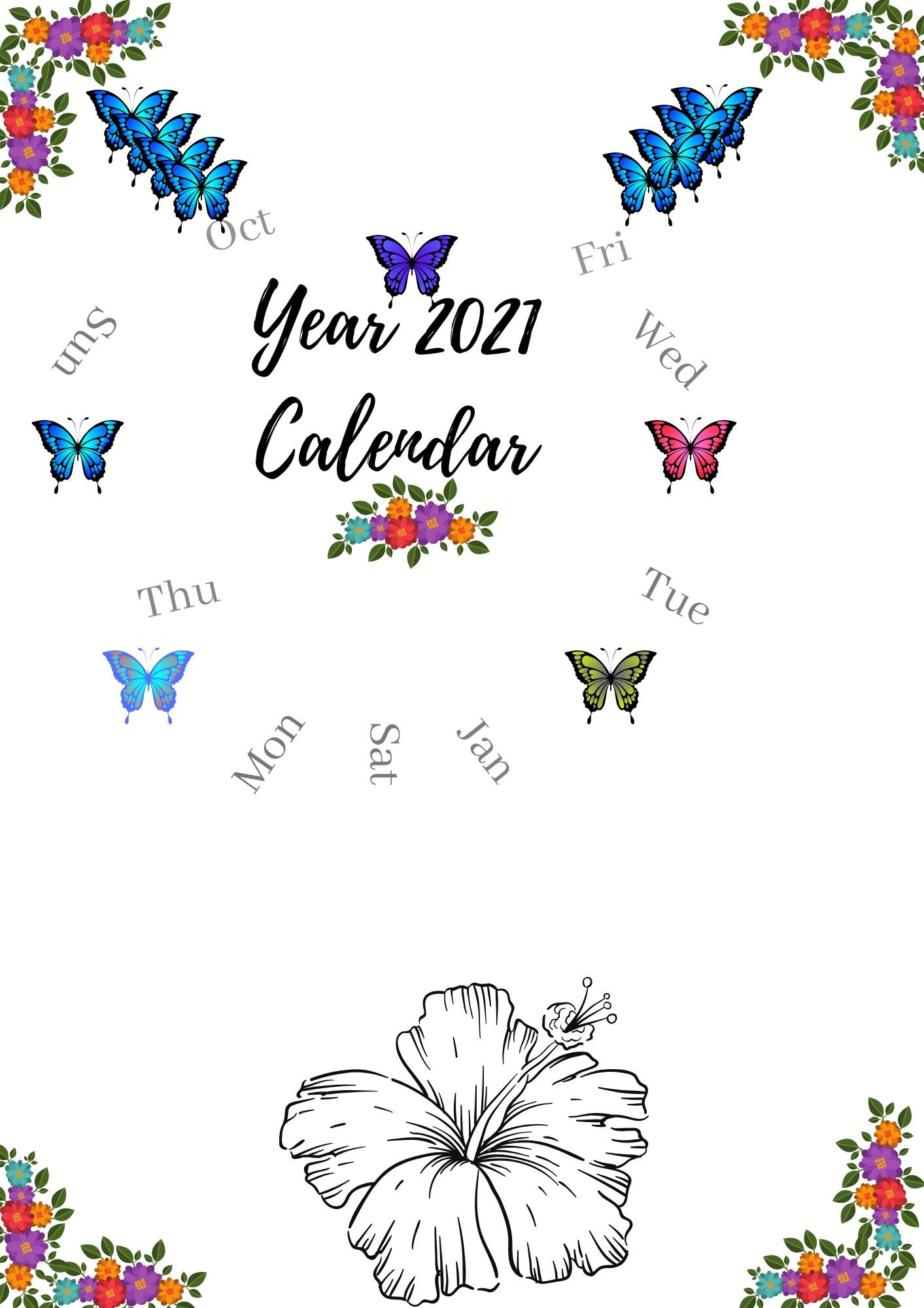 Butterflies And Flowers Themed 2021 Calendar In 2020 | 2021