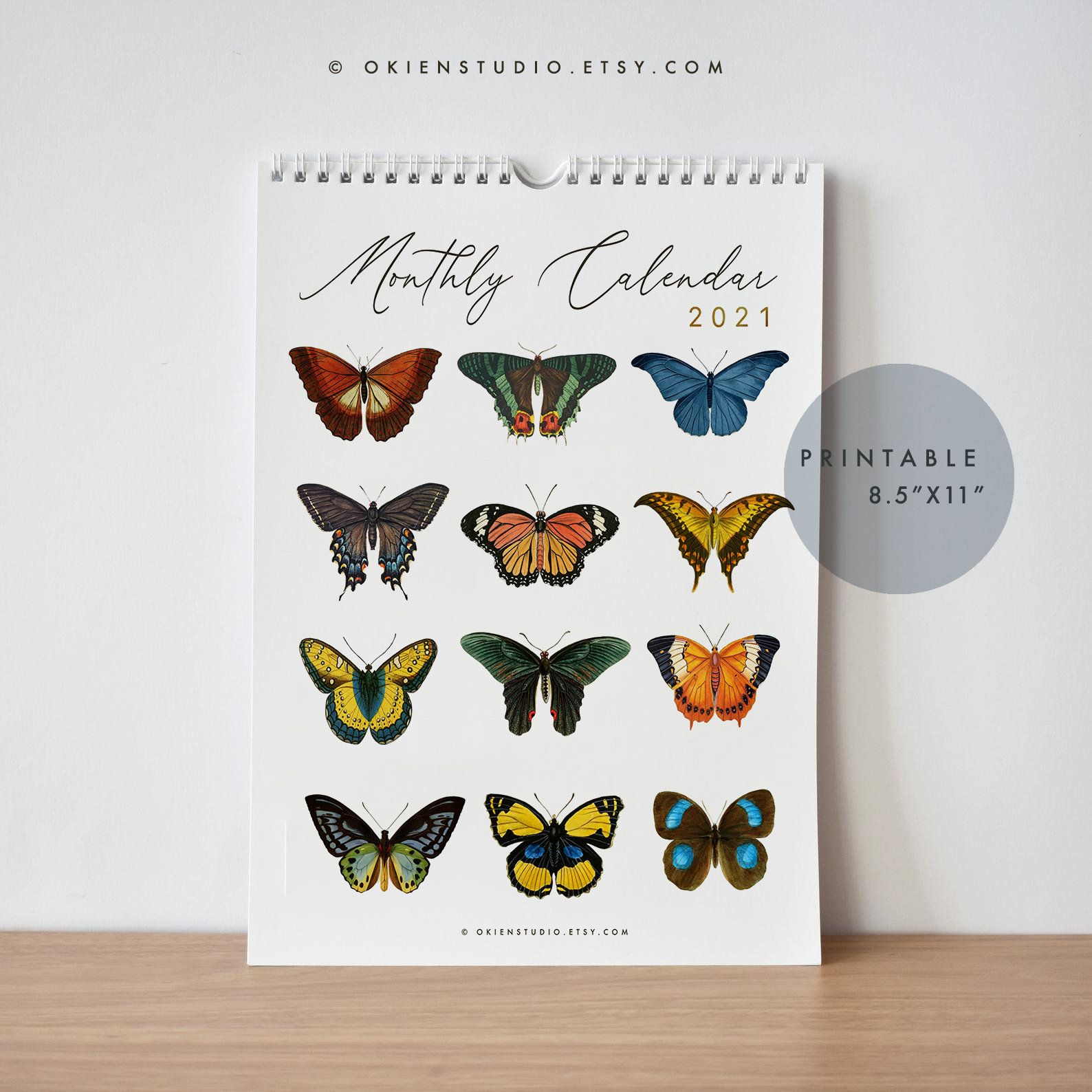 Butterflies Calendar 2021 Calendar Printable Butterflies And