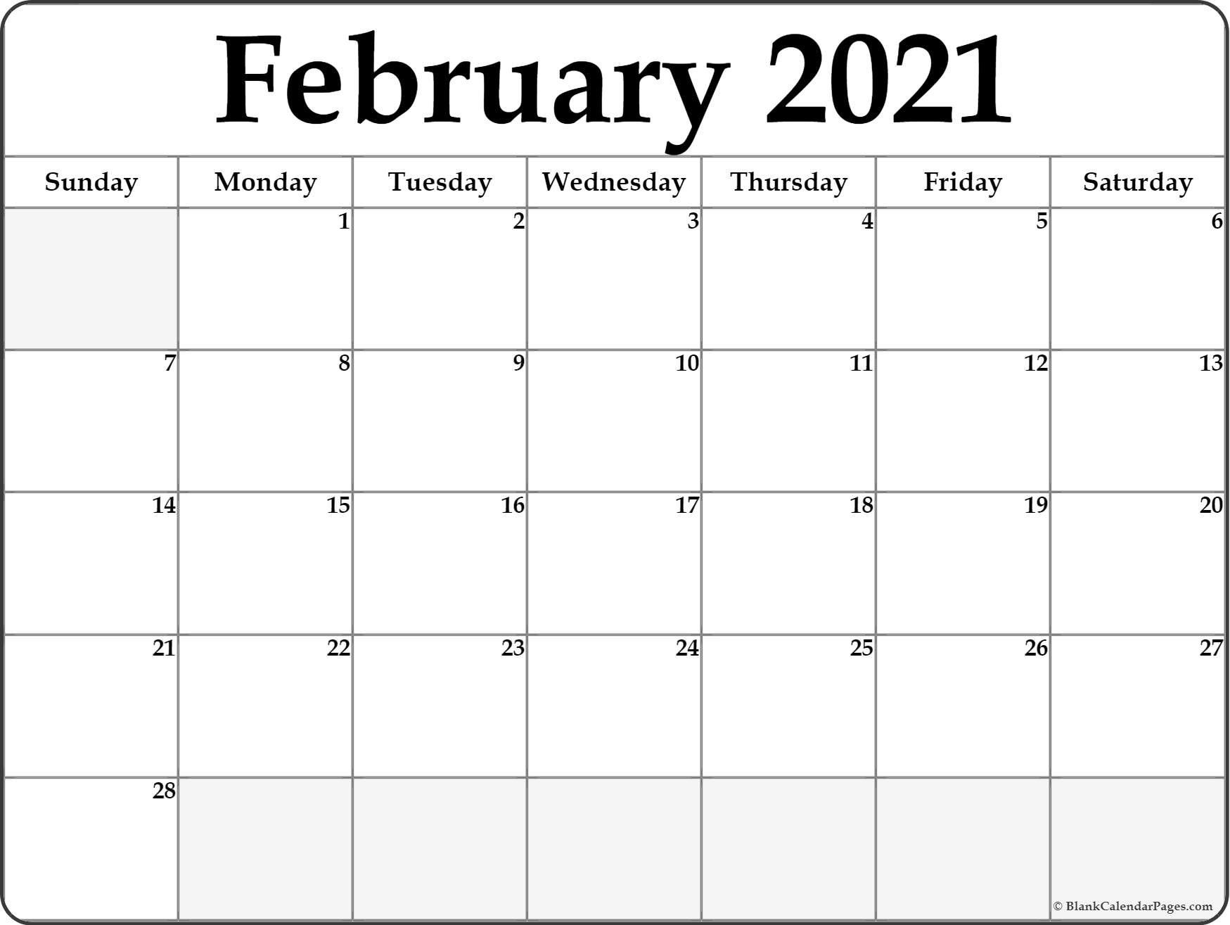 Calendar 2021 January February Blank In 2020 | Editable