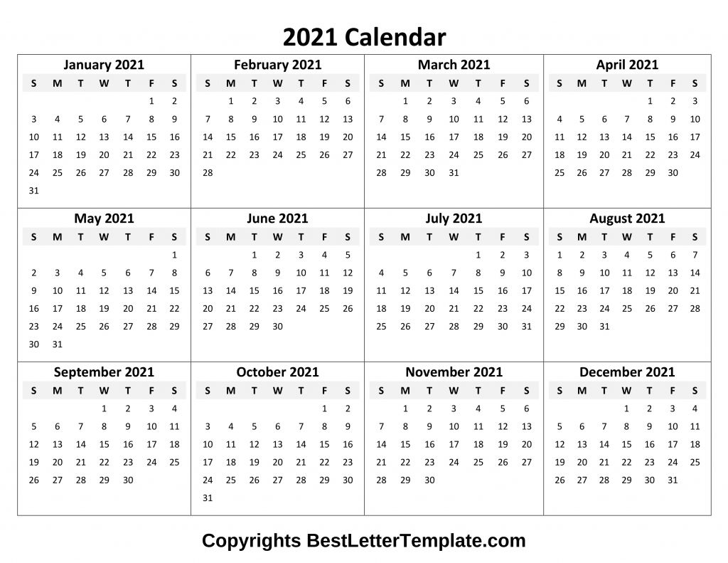 Calendar 2021 Tumblr Free In 2020 | Yearly Calendar Template