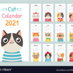 Cat Calendar Color Gift 2021 Calendar With Cute Vector Image