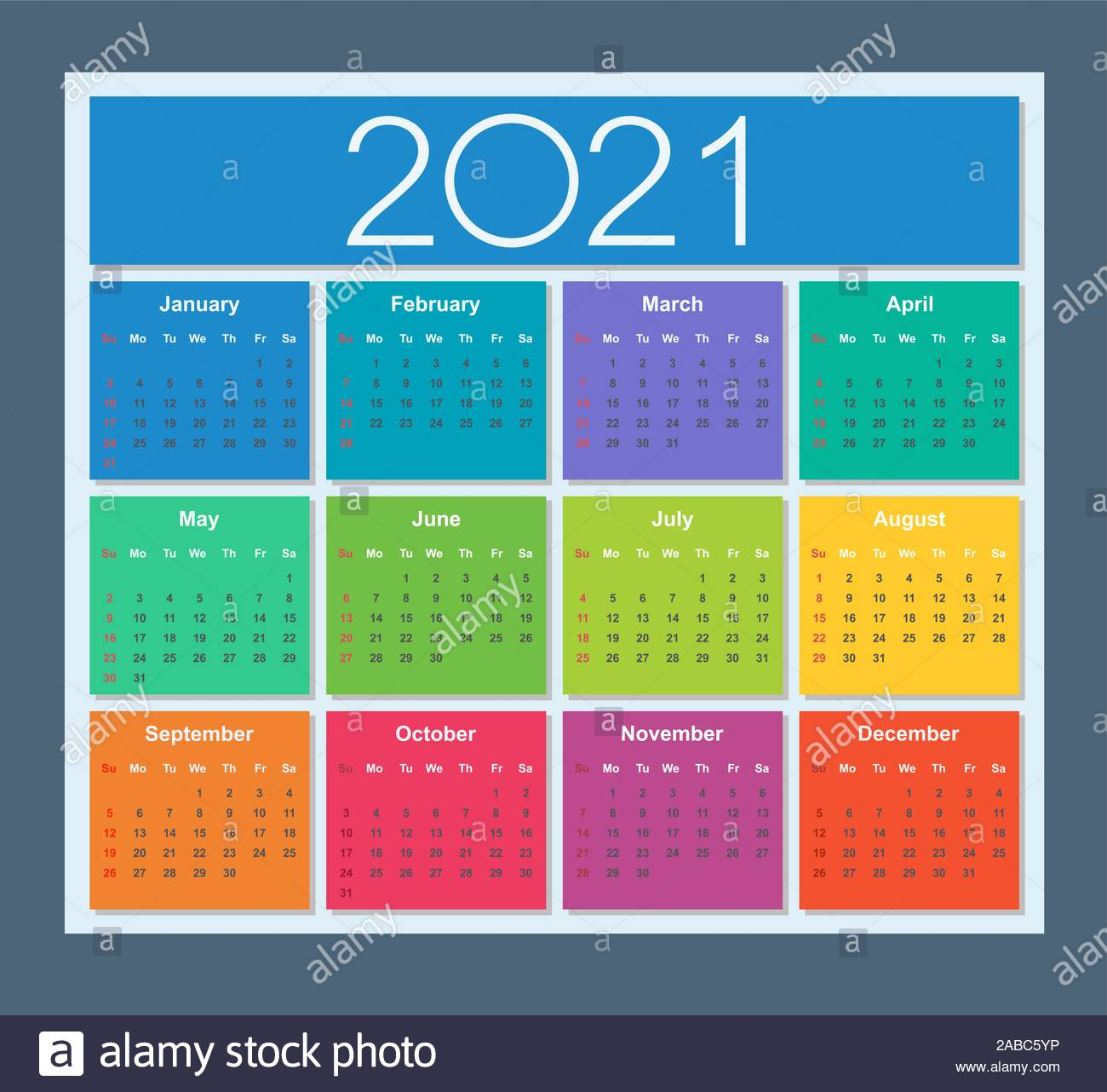 Colorful Calendar For Year 2021. Week Starts On Sunday