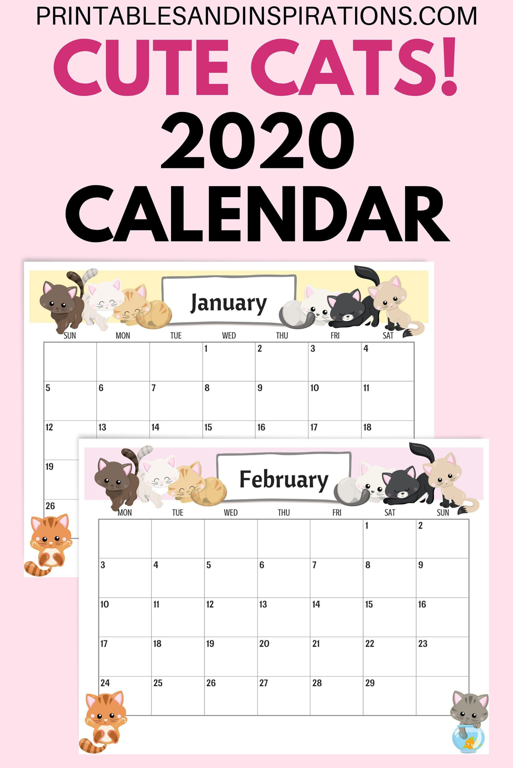 Cute Cats 2021 Calendar Printable Planner Pdf | Etsy In 2020