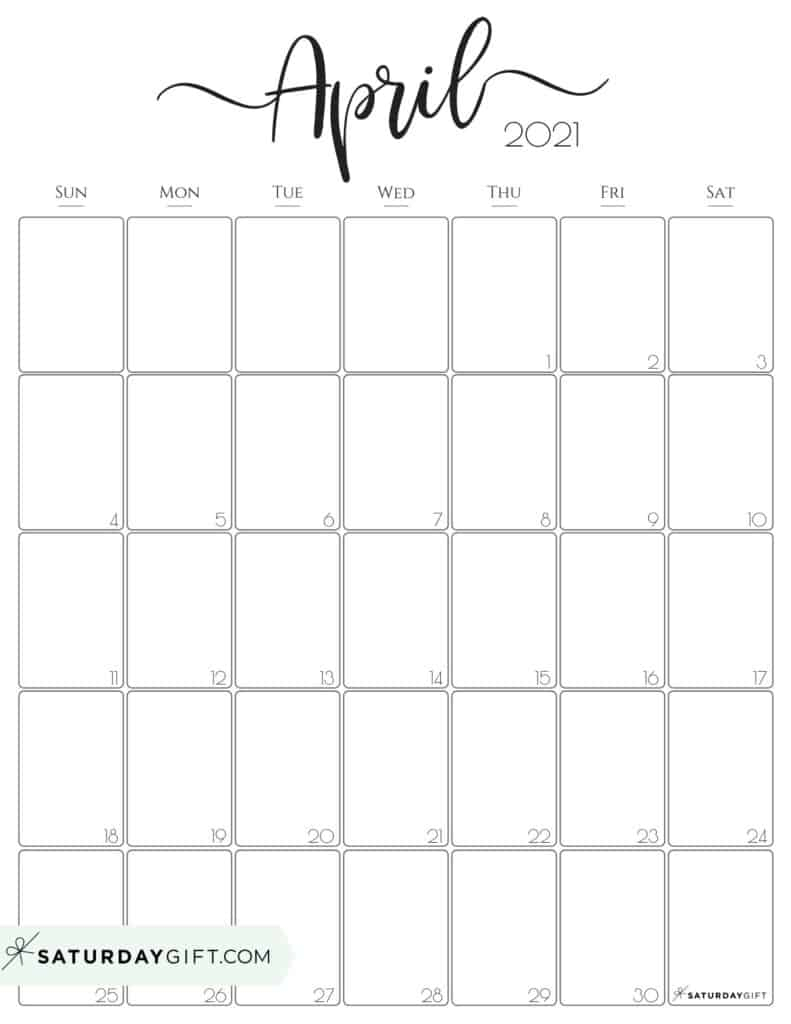 Cute (& Free!) Printable April 2021 Calendar | Saturdaygift