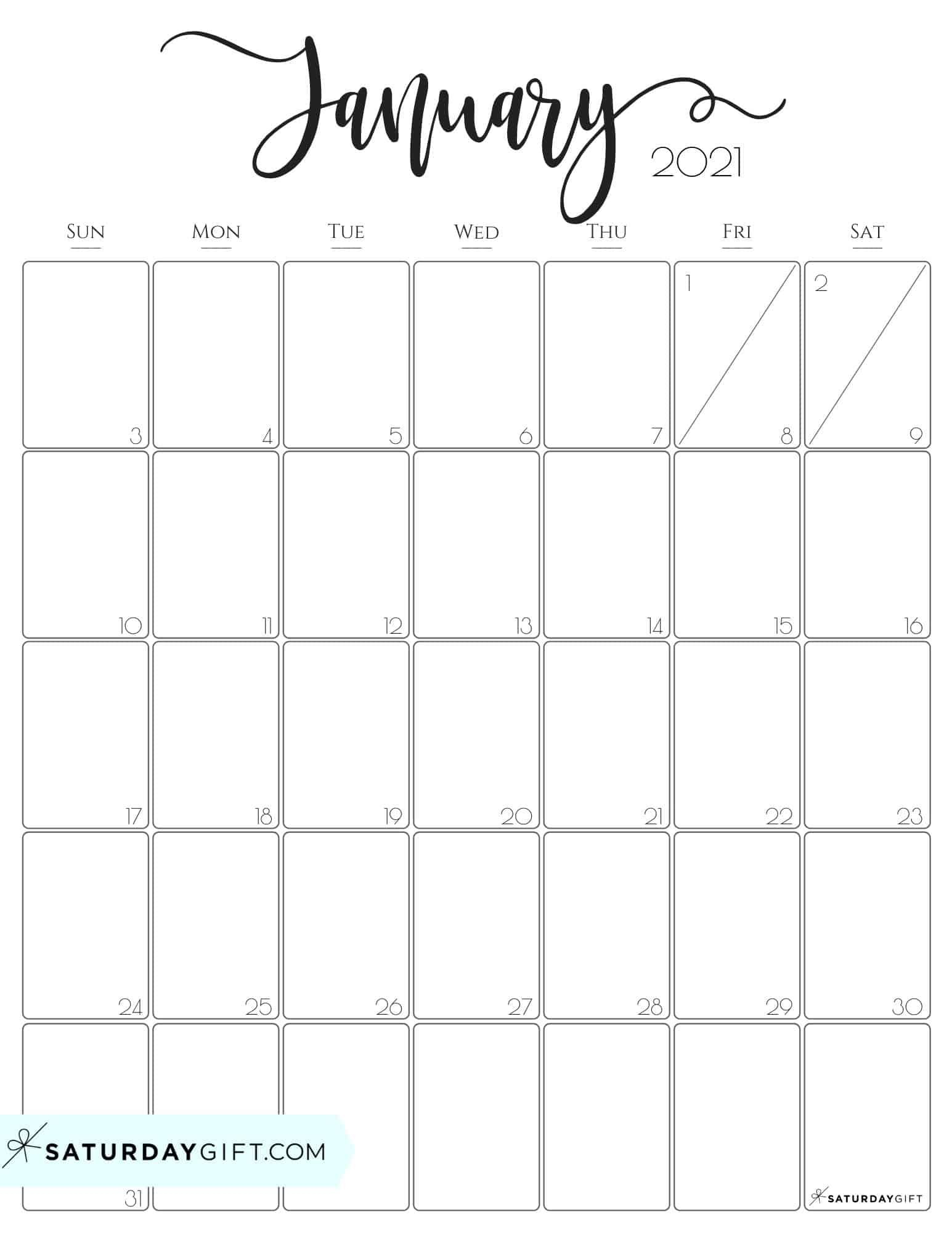 Cute (& Free!) Printable January 2021 Calendar