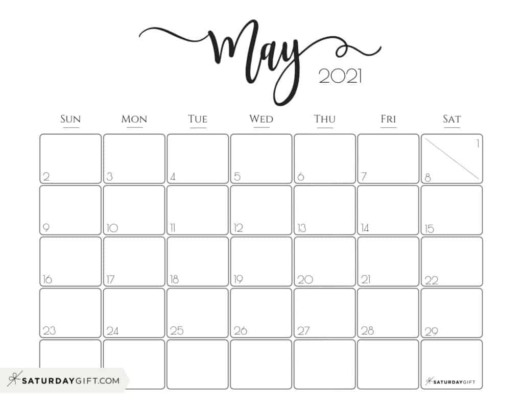Cute (& Free!) Printable May 2021 Calendar | Saturdaygift