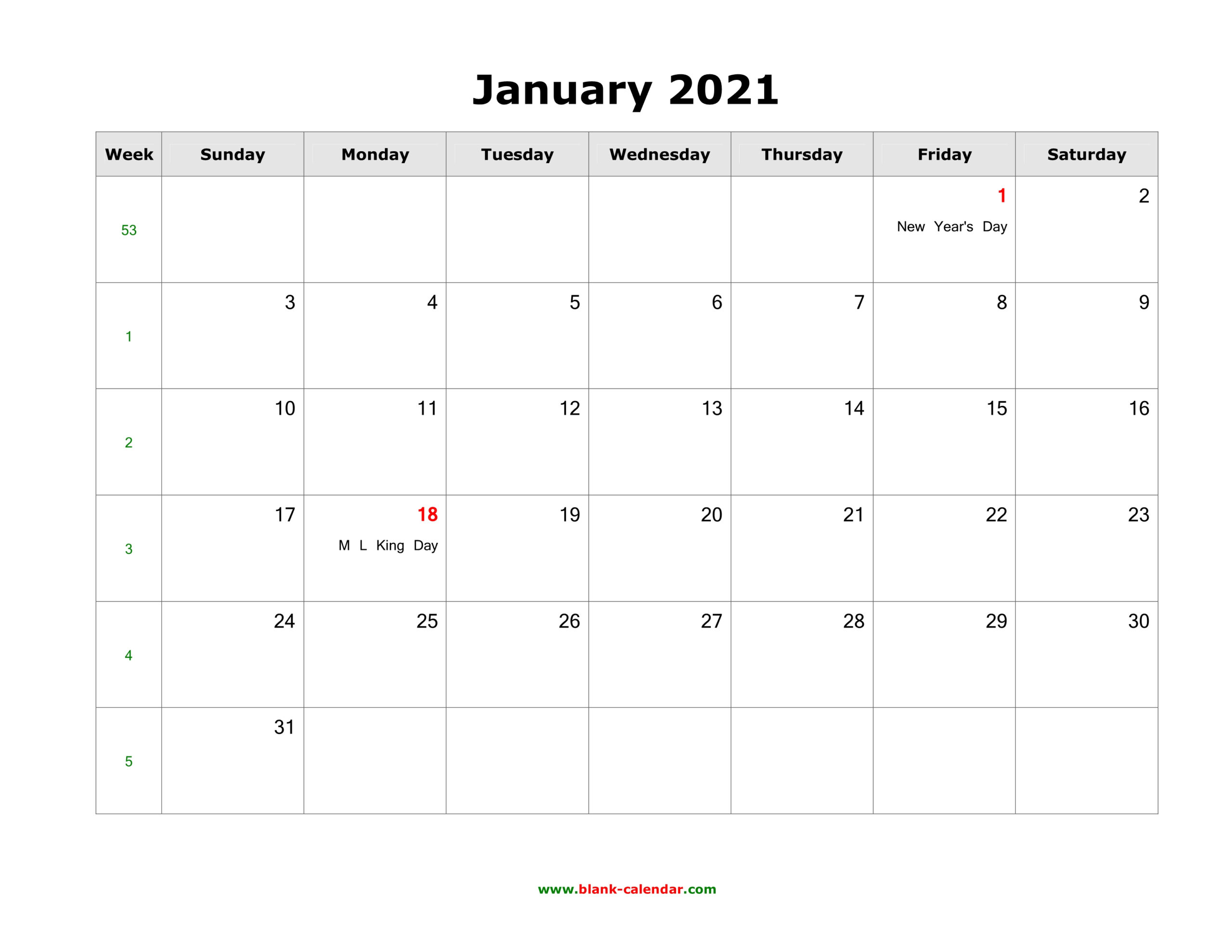 Download Blank Calendar 2021 With Us Holidays (12 Pages, One