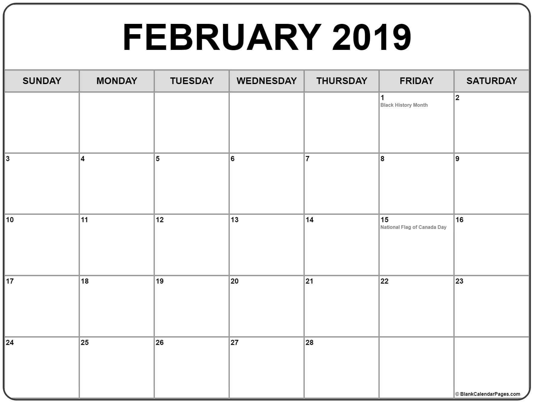 February 2019 Calendar With Canadian Holidays #february