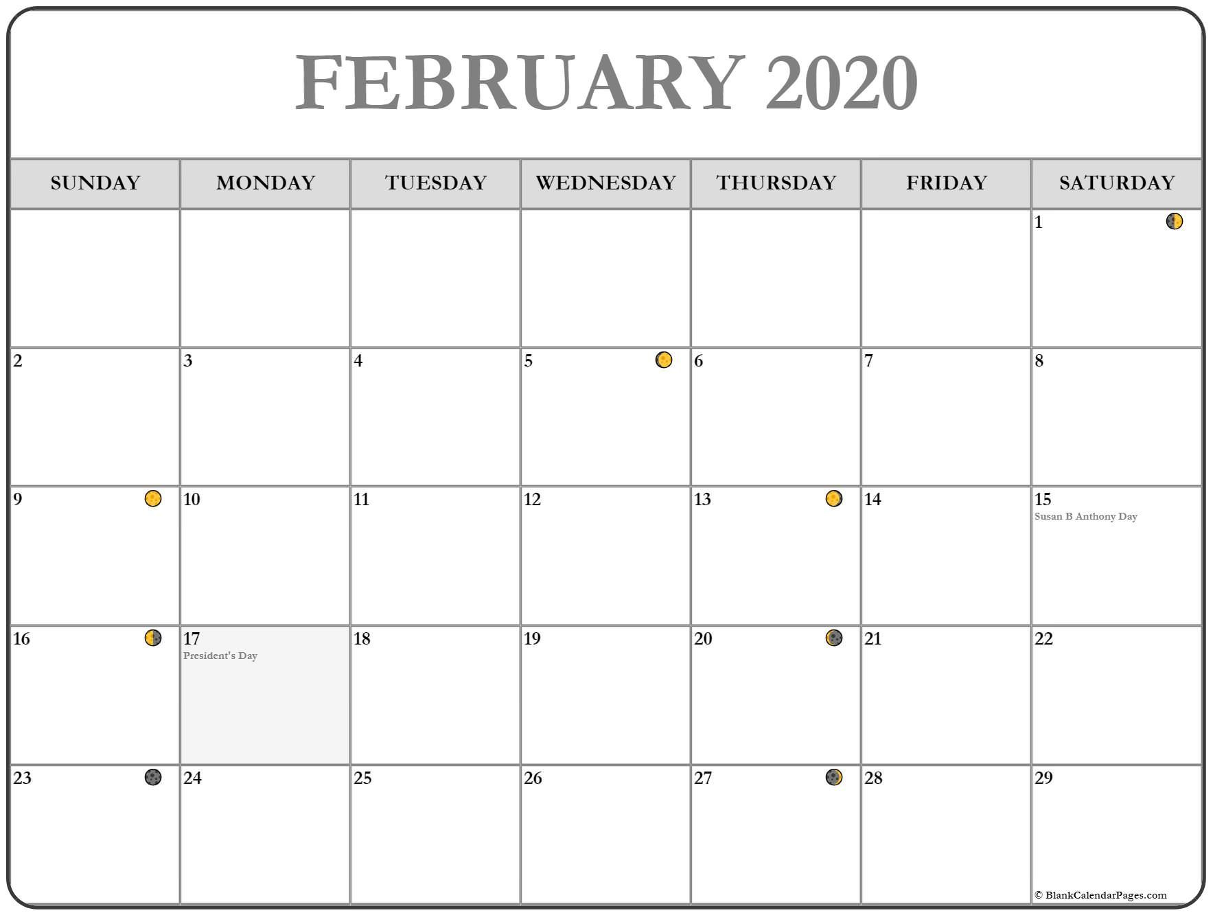 February 2020 Moon Phases Calendar In 2020 | Moon Phase