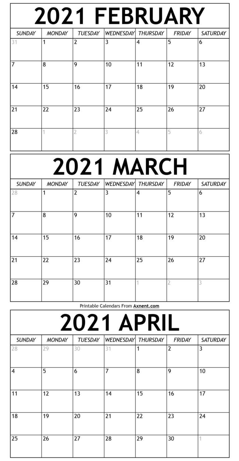 February To April Calendar 2021 Templates - Time Management