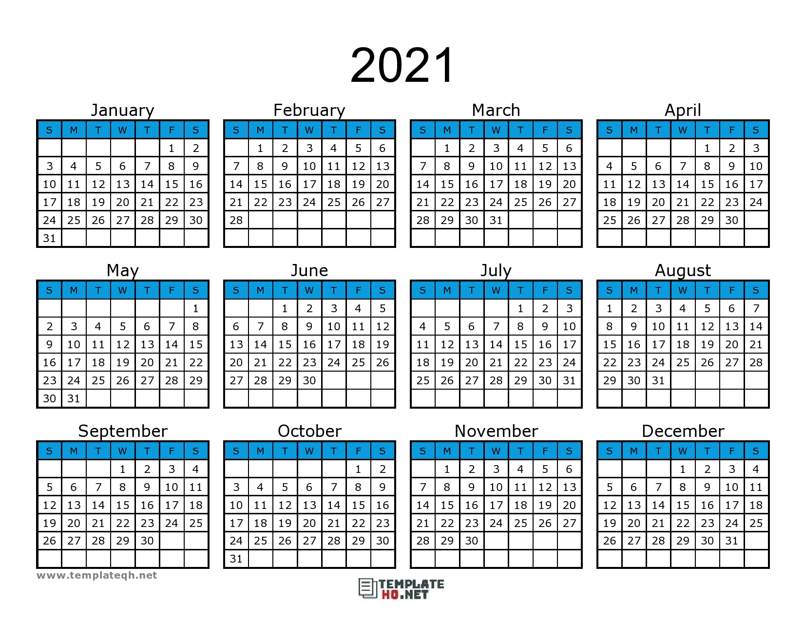 Free 2021 Calendar Printable - Template Hq