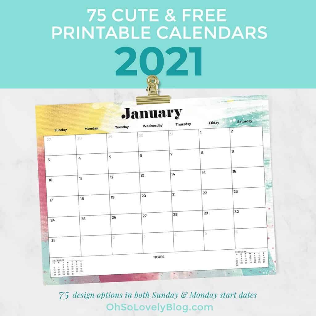 Free 2021 Calendars — 75 Beautiful Designs To Choose From!
