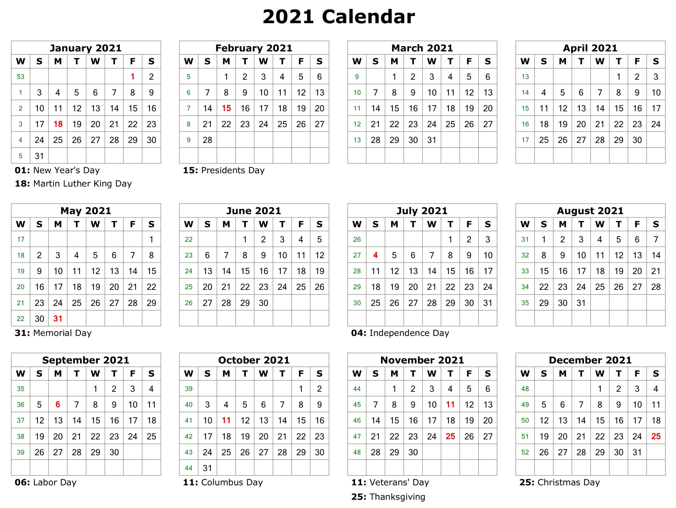 Free Printable 2021 Calendar With Holidays In Word | Free ...