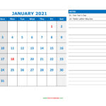 Free Download Printable Calendar 2021, Large Space For
