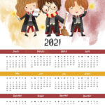 Free Printable 2021 Harry Potter One Page Calendar - The