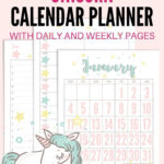 Free Printable 2021 Unicorn Calendar And Planner Pages