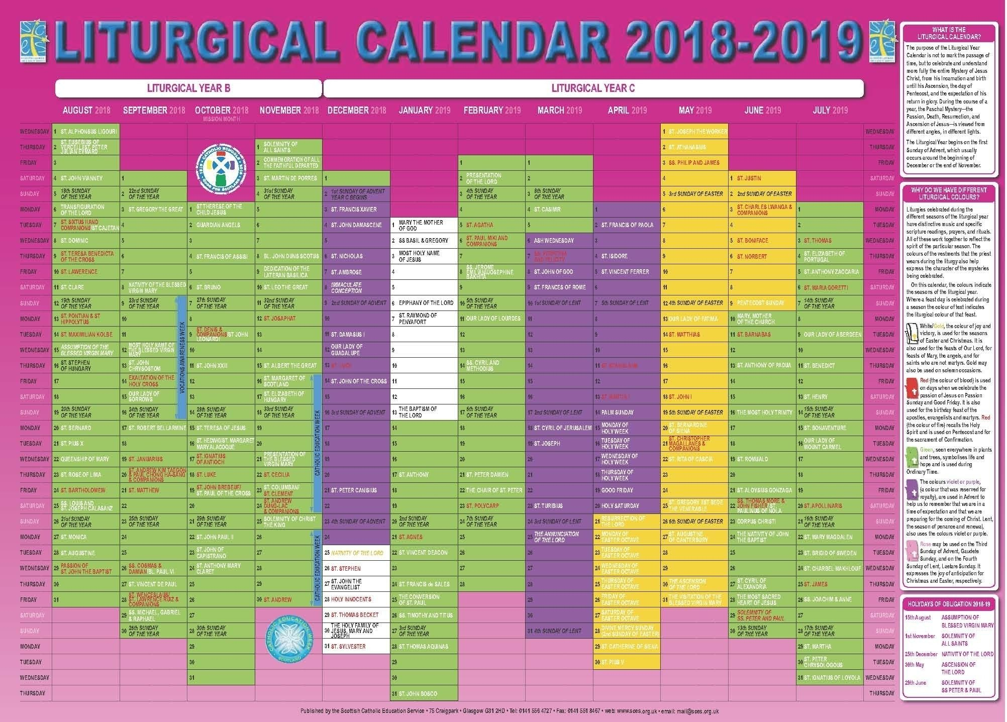Free Printable Liturgical Calendar In 2020 | Calendar