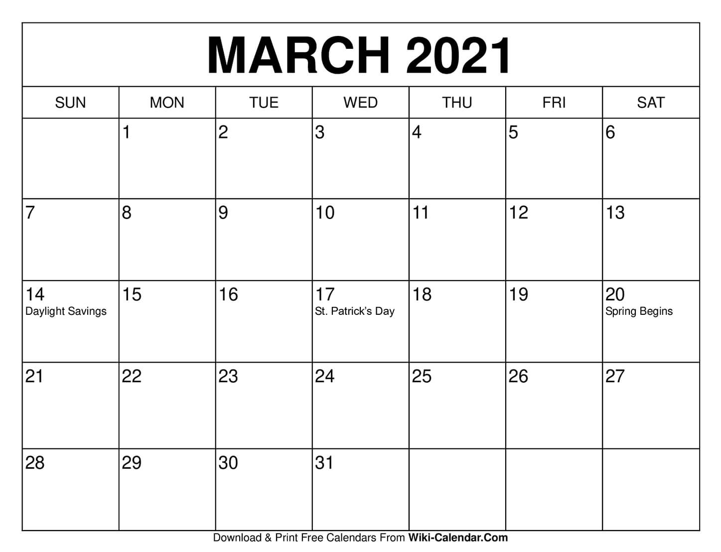 Free Printable March 2021 Calendars