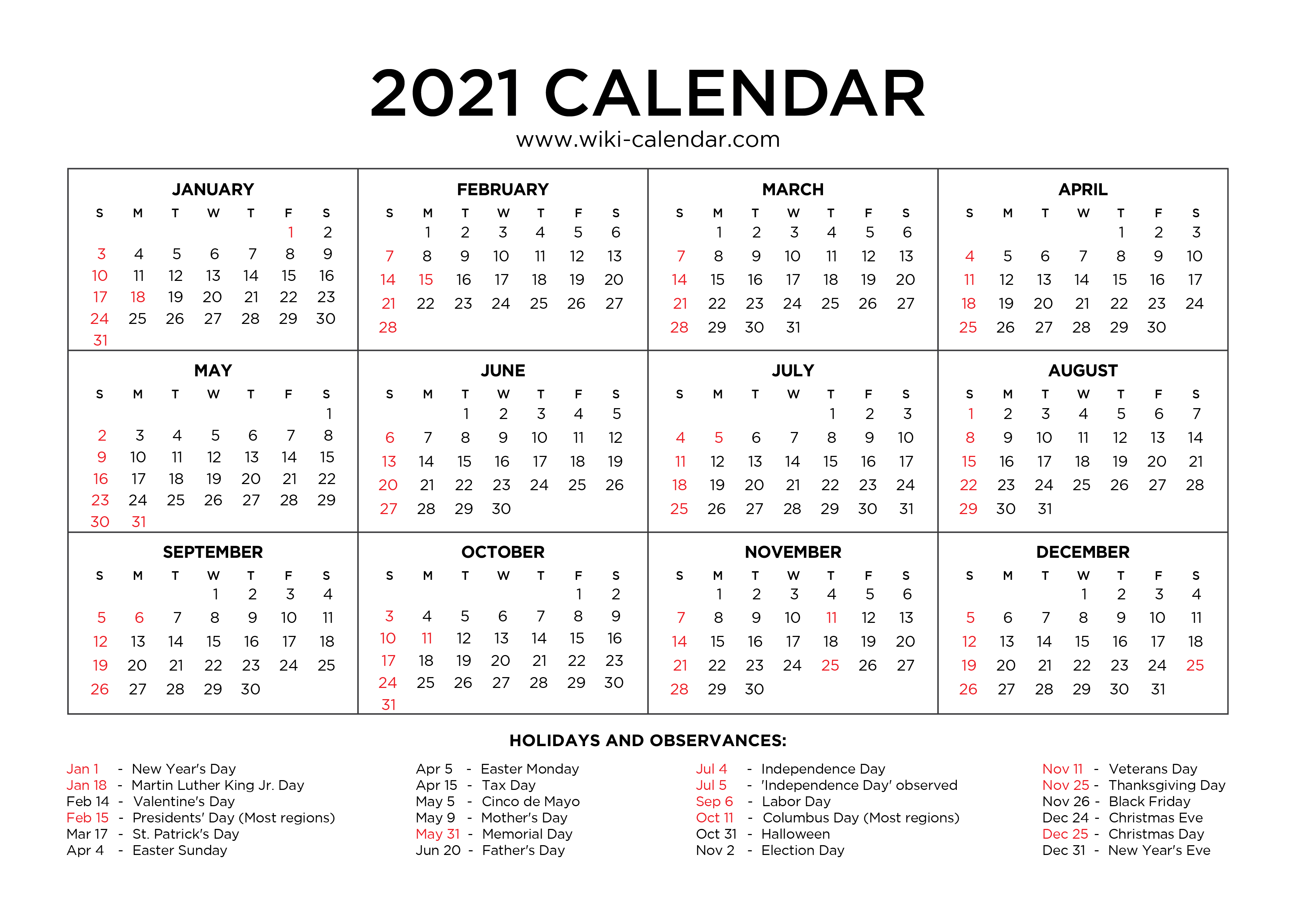 Free Printable 2021 Calendar By Month With Holidays | Free ...