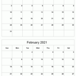 Jan-Feb 2021 Printable Calendar | Two Months Per Page