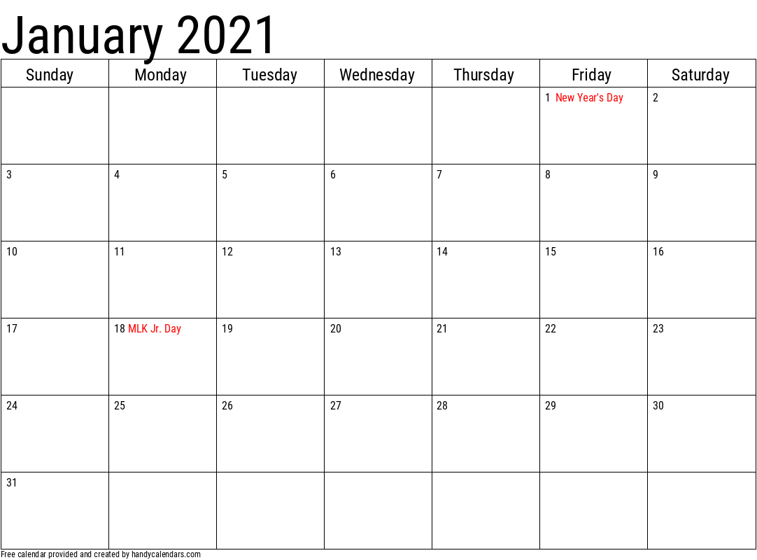 January 2021 Calendar With Holidays | Jan Calendar 2021 Yearly!!