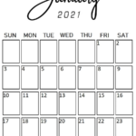 January 2021 Portrait (Vertical) Style Calendar In 2020