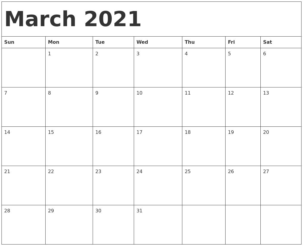 January February March 2021 Calendar In 2020   Printable