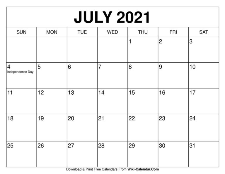 July 2021 Calendar In 2020 | Free Calendars To Print, Free
