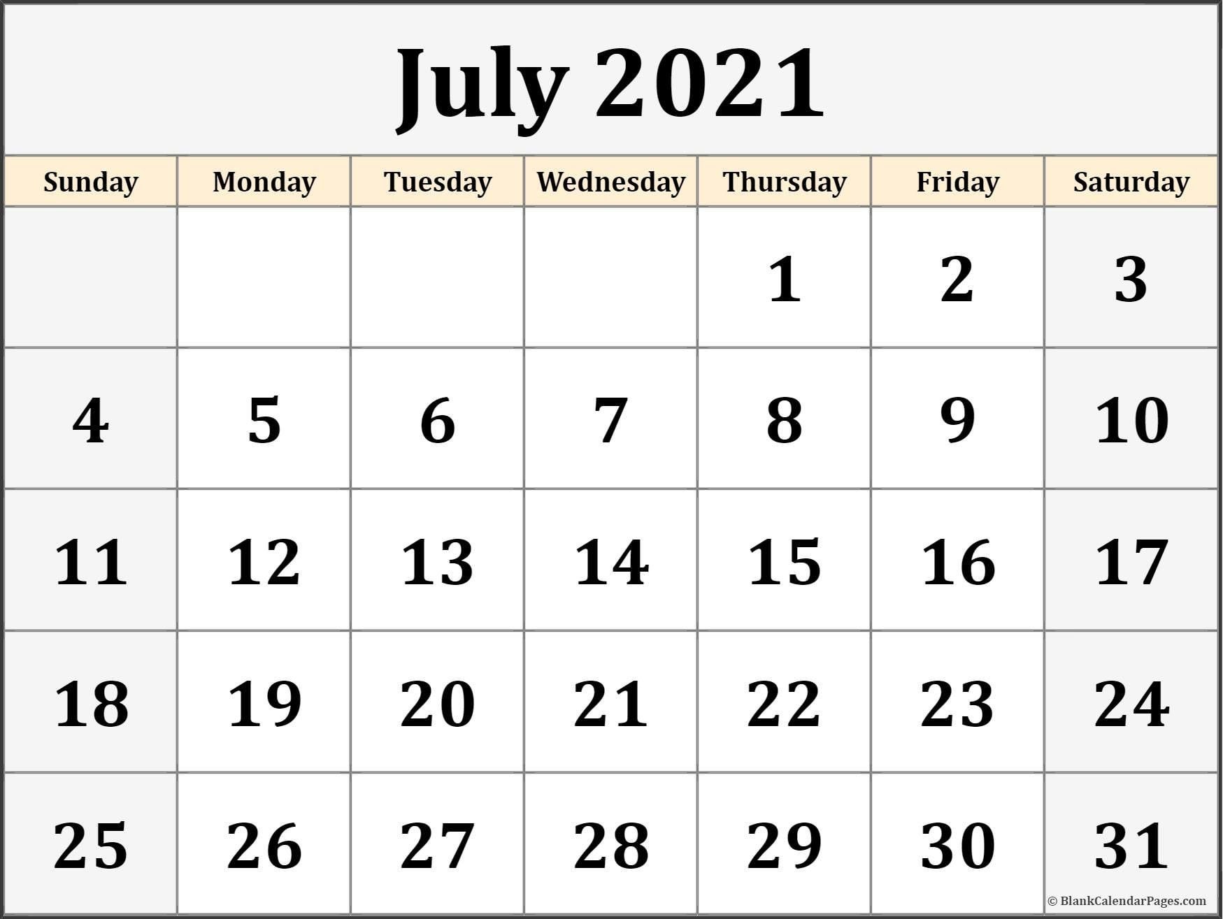 July 2021 Calendar Printable Blank – Allowed To Our Blog