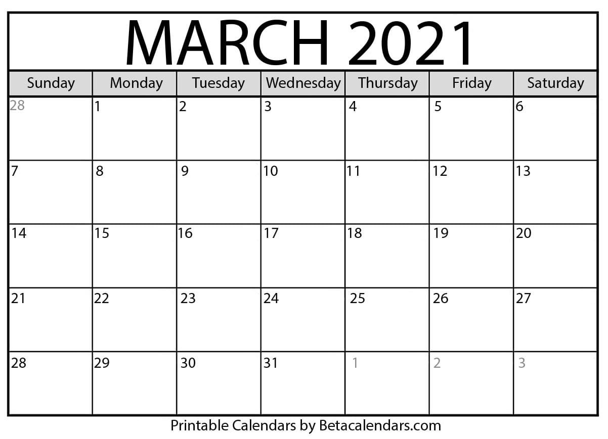 March 2021 Calendar | Blank Printable Monthly Calendars