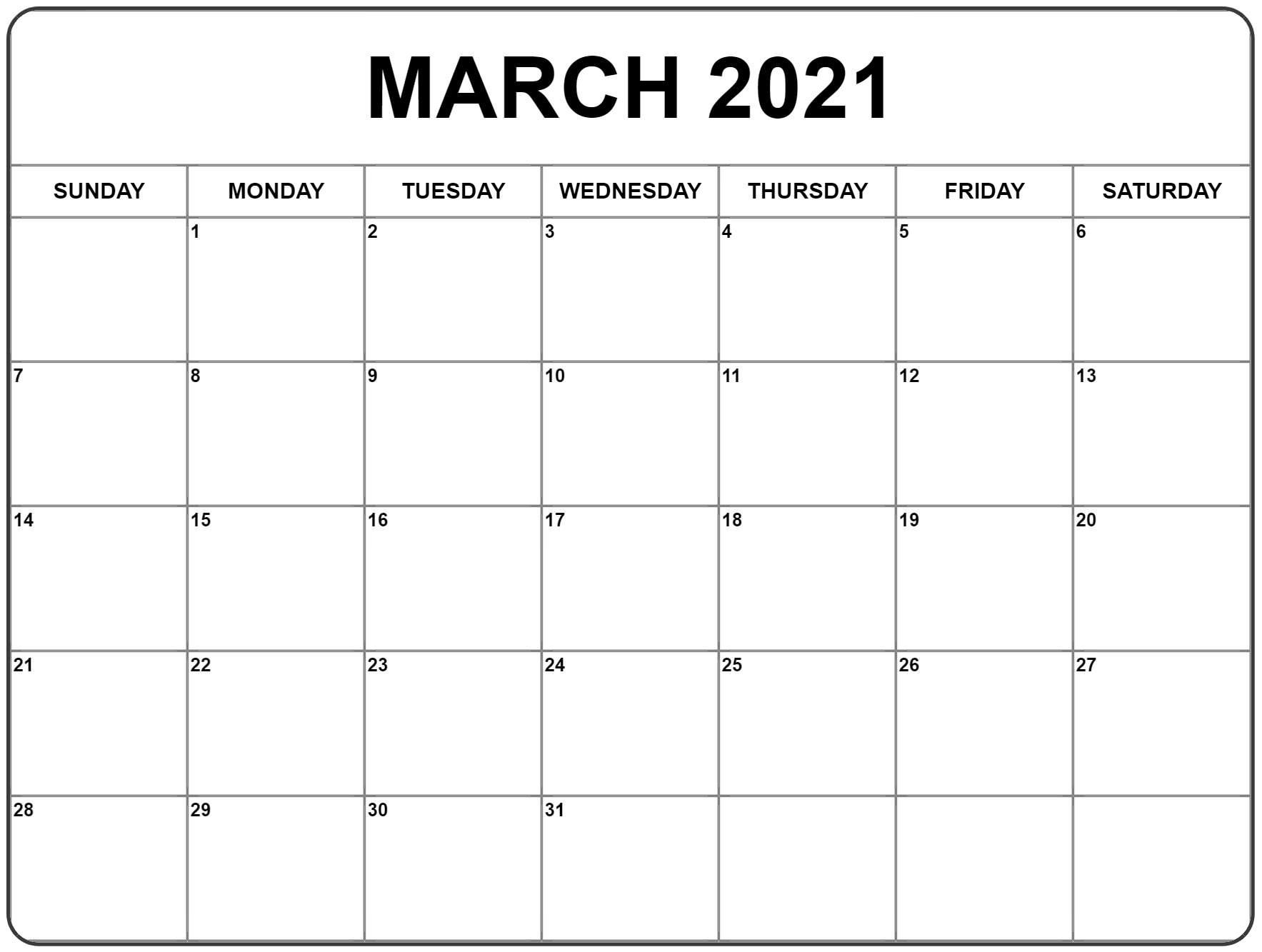 March 2021 Calendar | Monthly Calendar Printable, Free