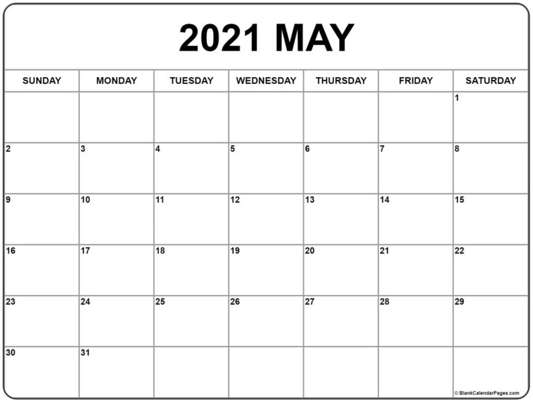 May 2021 Calendar | Free Printable Monthly Calendars